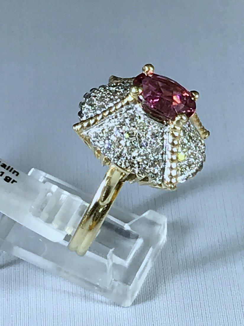 14k Yellow Gold Ring with Diamonds and Tourmaline