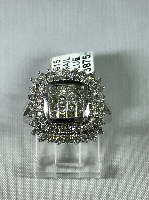 14k White Gold Ring with Diamonds - 2
