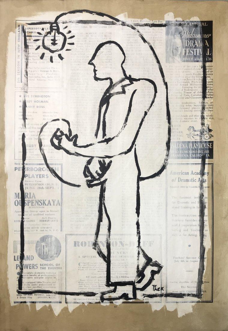 PAUL THEK, Mixed media on newsprint.
