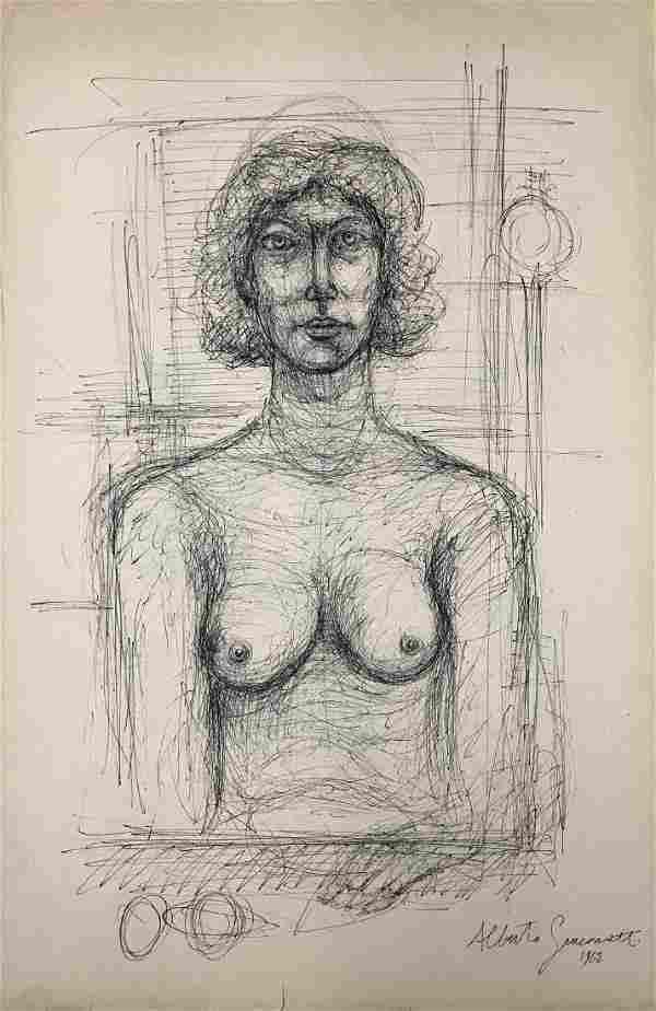 ALBERTO GIACOMETTI, Ink on paper,