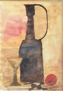 JULIUS BISSIER Watercolor on paper