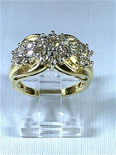 14k Two Tone Ring with Diamonds