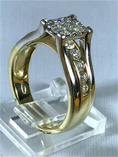 14k Two Tone Gold Ring with Diamonds