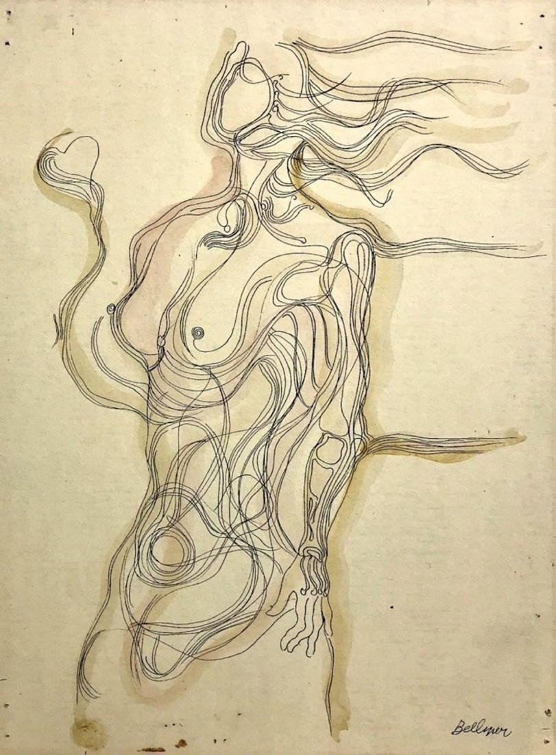 HANS BELLMER, Mixed media on board