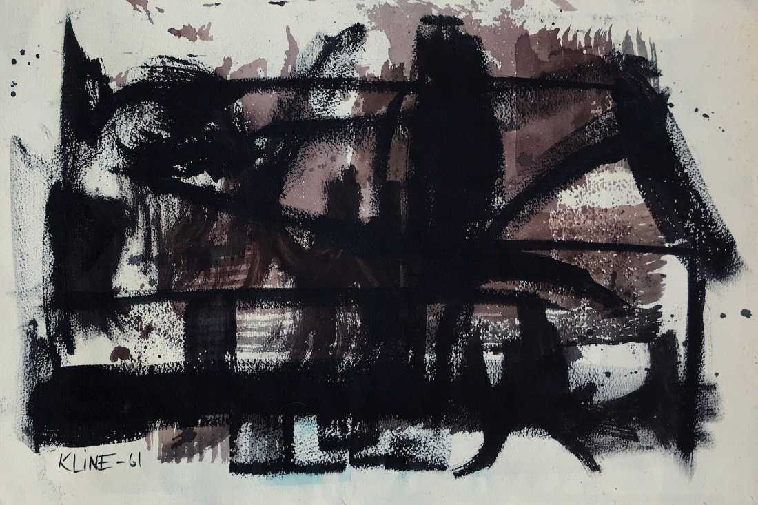 FRANZ KLINE, Mixed Media on Cardboard