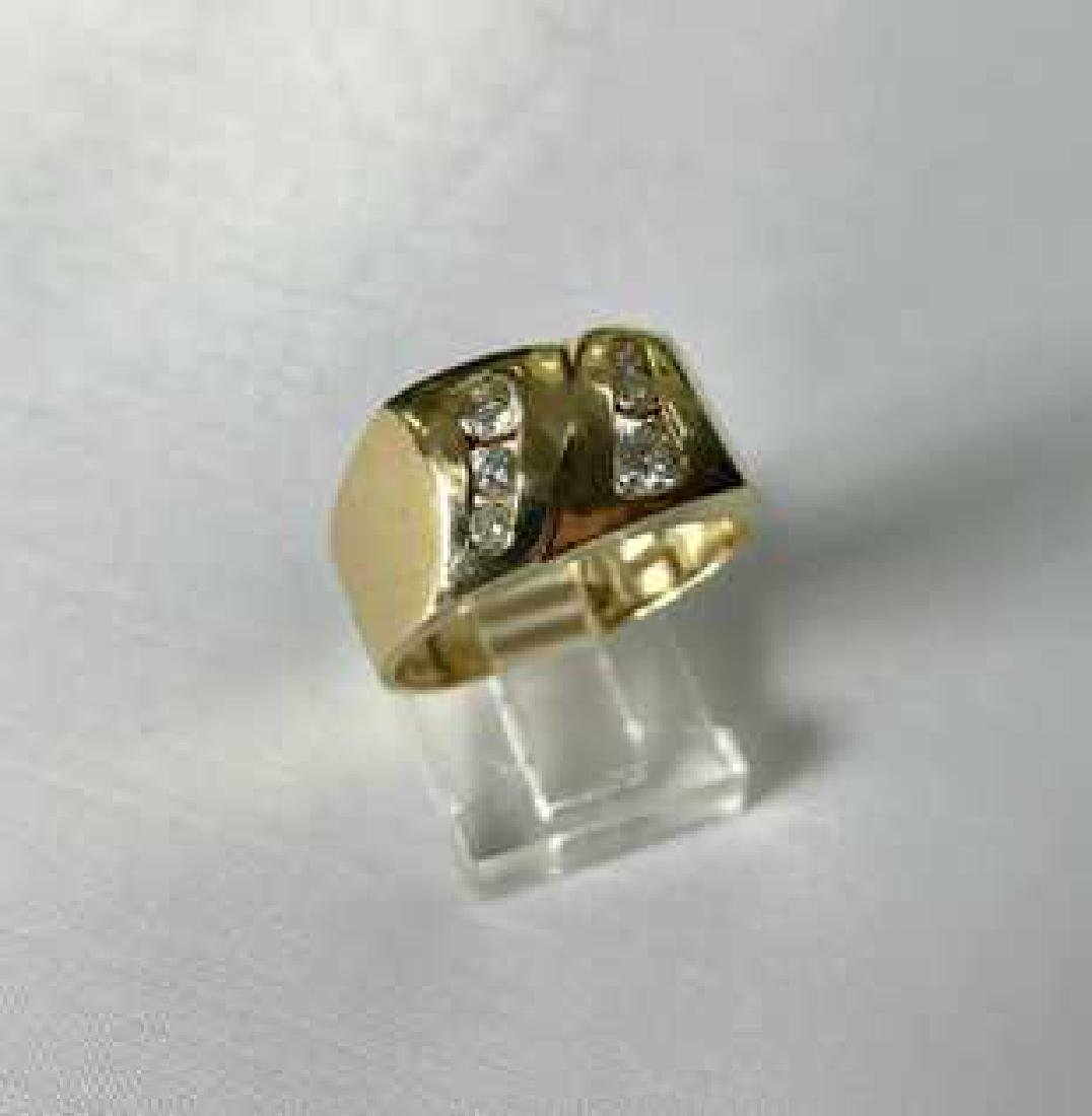 14k Mens Ring and Diamonds