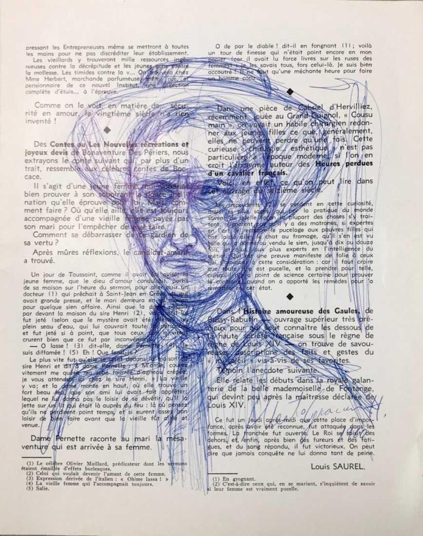 ALBERTO GIACOMETTI, Blue Ball-Point Pen on Newsprint