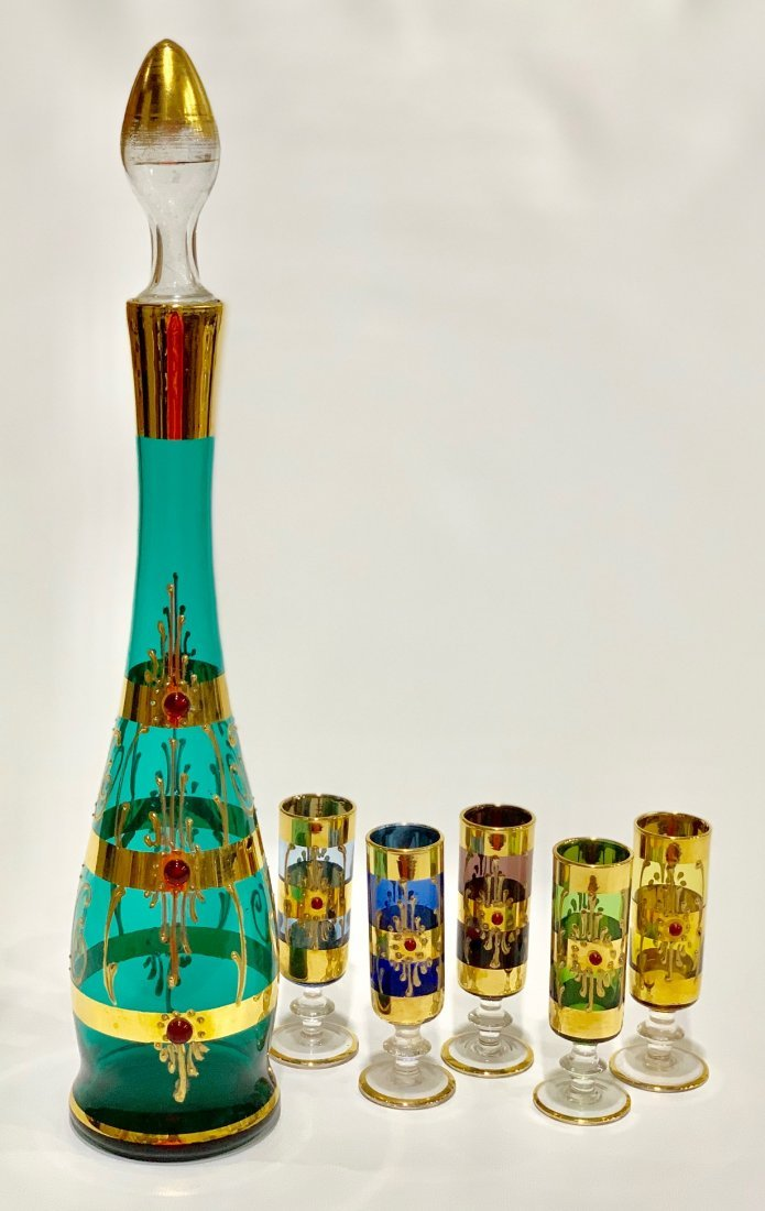 Antique Venetian glass set hand painted in 22k gold