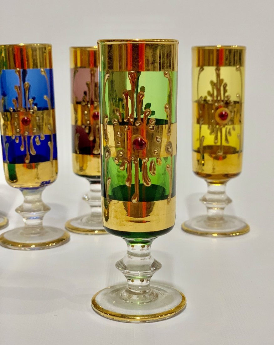 Antique Venetian glass set hand painted in 22k gold - 2