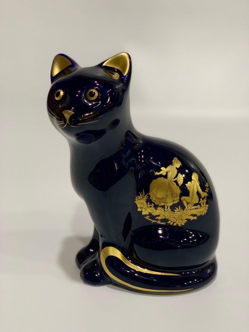 French Porcelain Cat Limoges,romantic scene in 22k gold