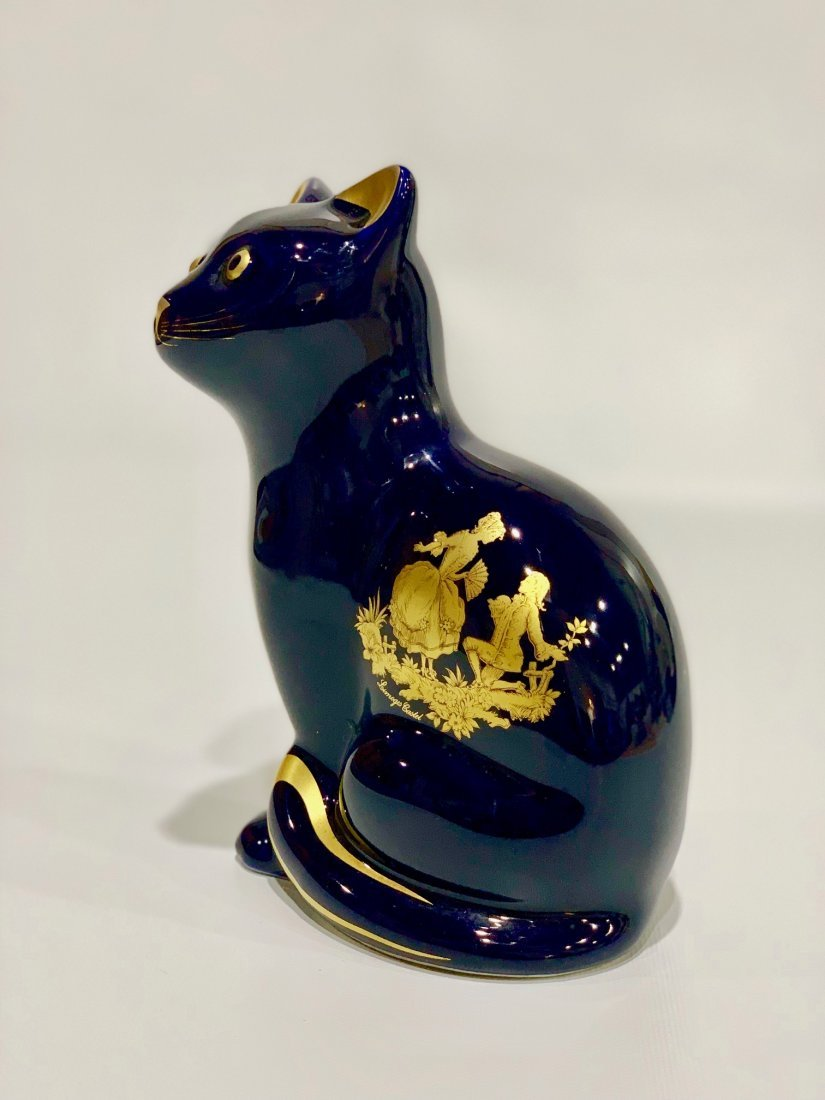 French Porcelain Cat Limoges,romantic scene in 22k gold - 4