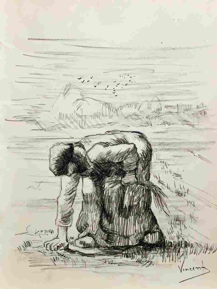 VINCENT VAN GOGH, Charcoal on Paper (Attrib)