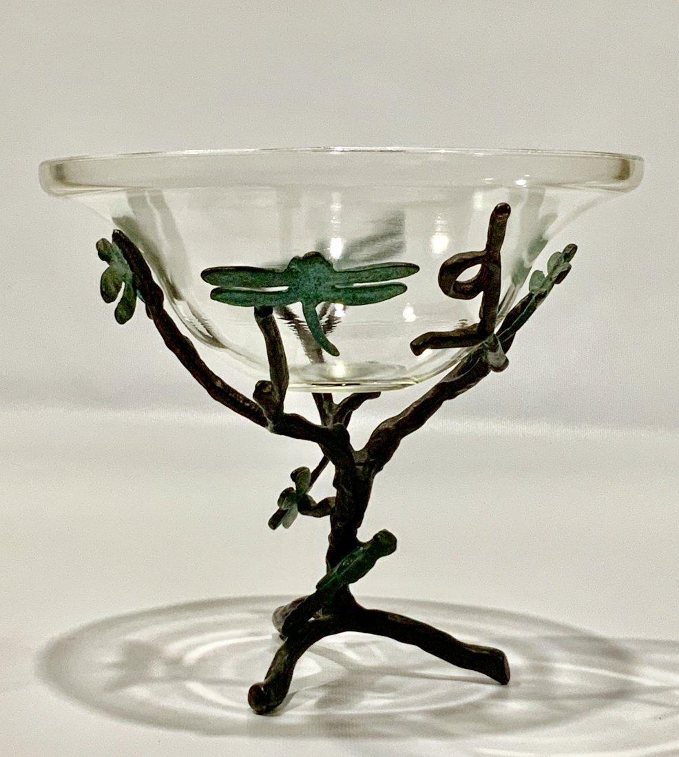 VINTAGE TIFFANY STYLE CENTERPIECE, BRONZE WITH GLASS