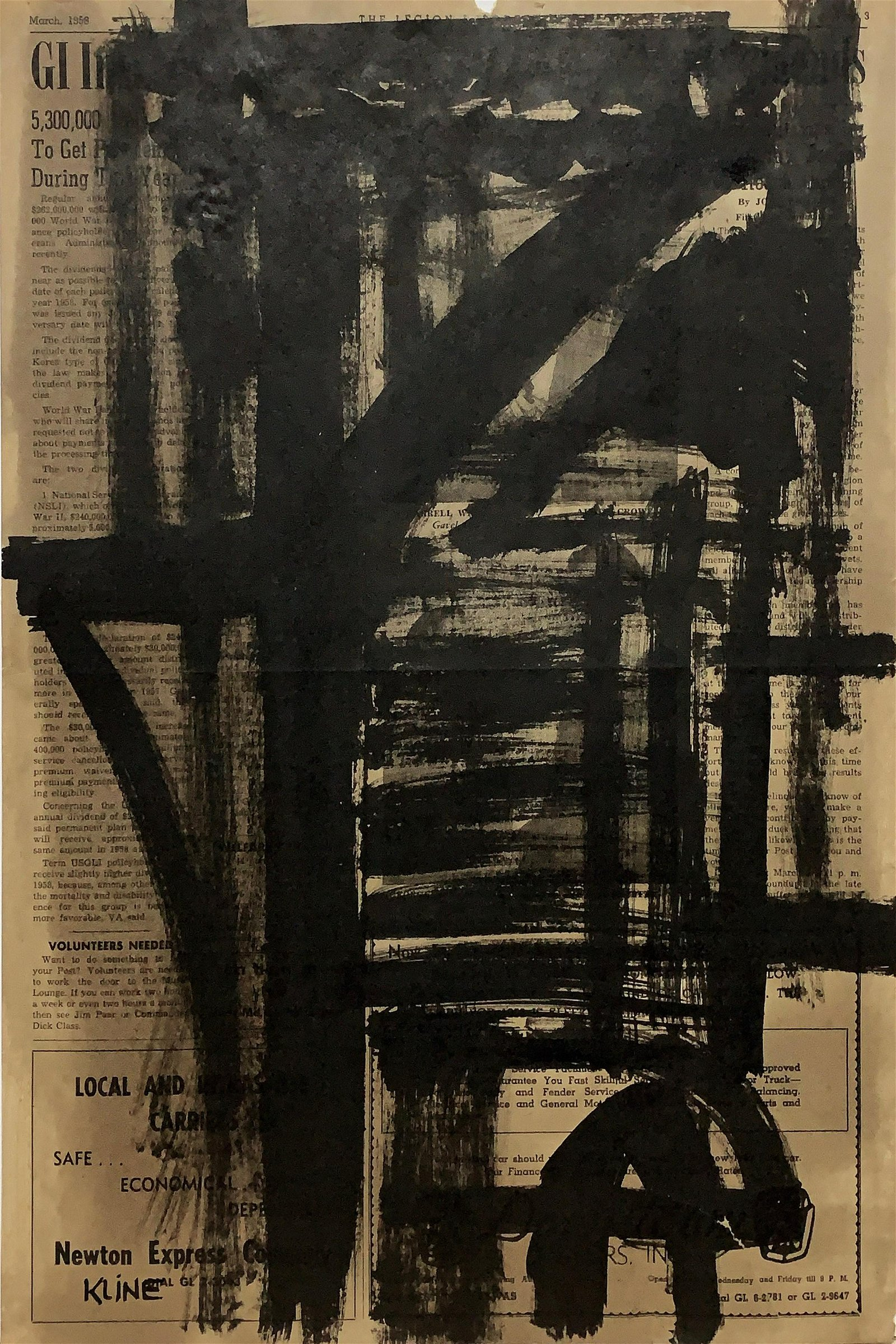 FRANZ KLINE, Oil on Newspaper (Attrib.)