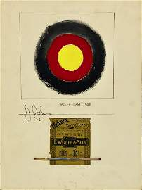 JASPER JOHNS, Mixed Media on Board (Attrib)