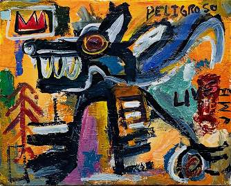 JEAN-MICHEL BASQUIAT, Acrylic on Wood (Attrib.)