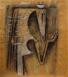 WIFREDO LAM, Mixed media on paper craft (Attrib.)