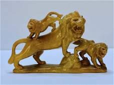 Vintage Hand Carved Soapstone Lion Sculpture