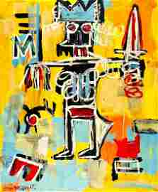 JEAN-MICHEL BASQUIAT, Oil on canvas (Attrib.)