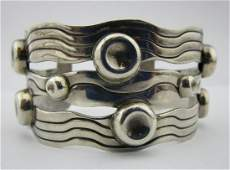 Stunning Large Sterling Silver Modernist Syle Cuff