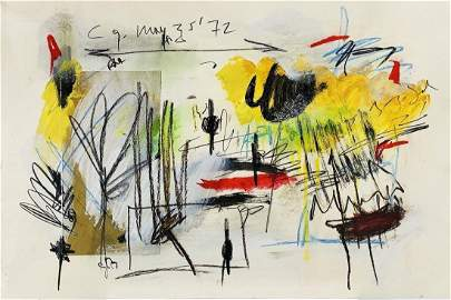 CY TWOMBLY, Mixed Media (Collage) on Cardboard (Attrib)