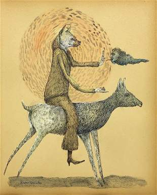 LEONORA CARRINGTON, Ink and Gouache on Paper (Attrib)