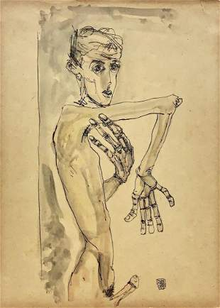 EGON SCHIELE, Gouache and Ink on Paper (Attrib)
