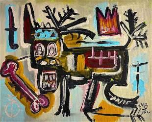 JEAN-MICHEL BASQUIAT, Oil on Canvas Panel (Attrib.)