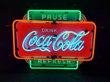 Pause & Refresh Drink Coca Cola Vintage Style Neon Sign
