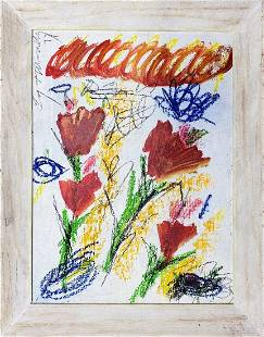 CY TWOMBLY, Mixed Media on Canvas Panel (Attrib)