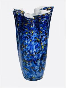Vintage Murano Speckle Blue Ruffled Rim Art Glass Vase