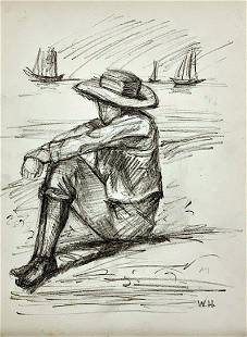 WINSLOW HOMER, Charcoal on Paper