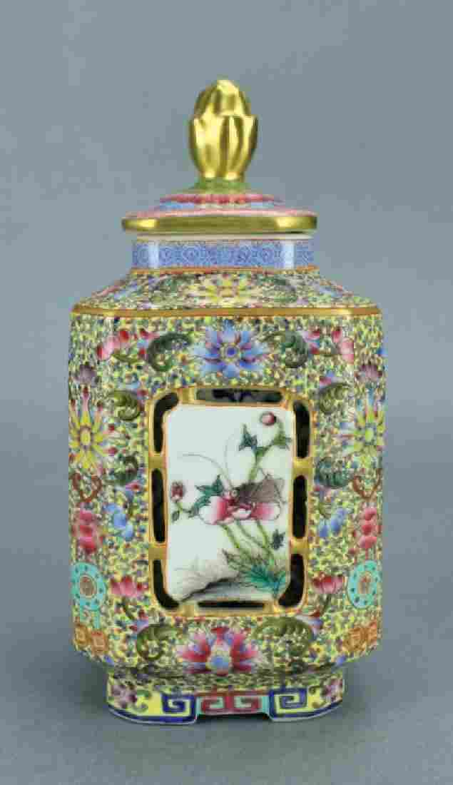 Qing Famille Rose Double Layer Vase with Lid QianL