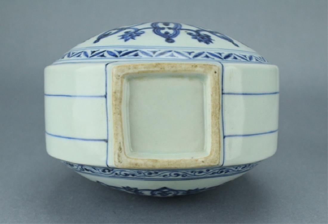 Ming Blue&White Moon Flask Vase XuanDe Mark Period - 7
