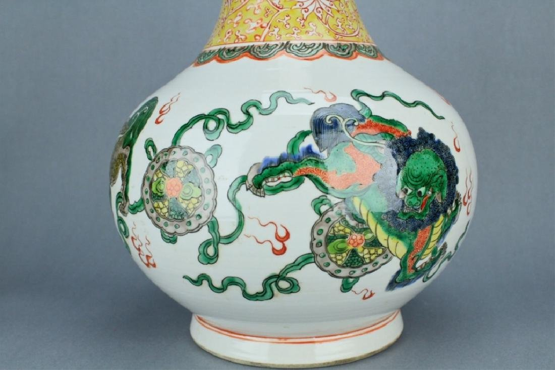 Qing Famille Rose Lion Vase GuangXu mark and perio - 4