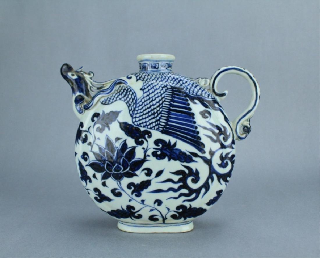 Ming Blue&White Phoenix Floral Porcelain Pot