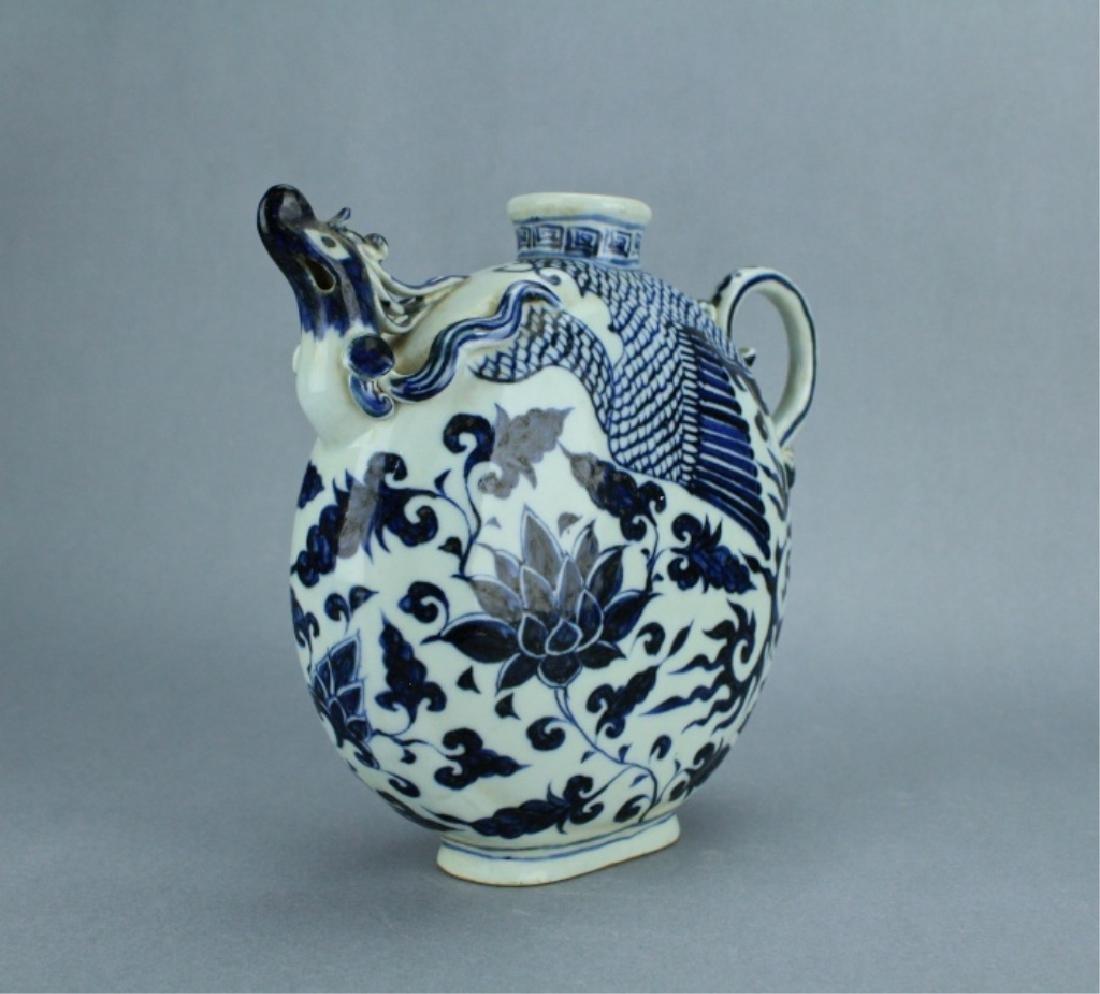 Ming Blue&White Phoenix Floral Porcelain Pot - 2
