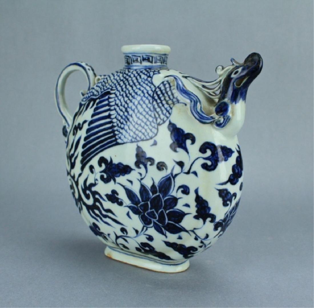 Ming Blue&White Phoenix Floral Porcelain Pot - 4