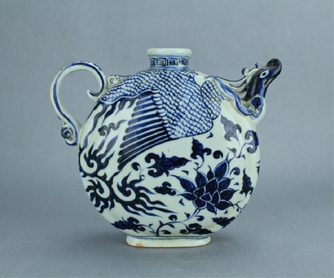 Ming Blue&White Phoenix Floral Porcelain Pot - 5