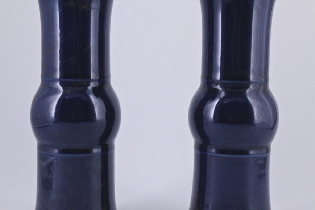 Pair of Qing Blue Glaze Porcelain Vase - 3