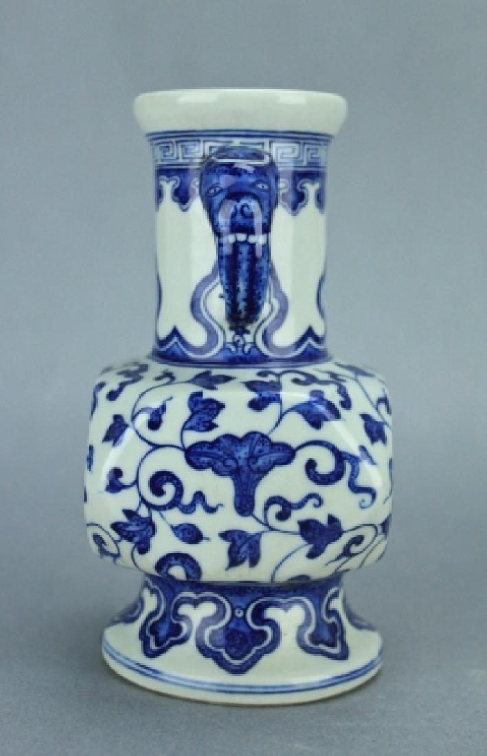 Qing Blue&White Floral Handle Vase QianLong Mark P - 5