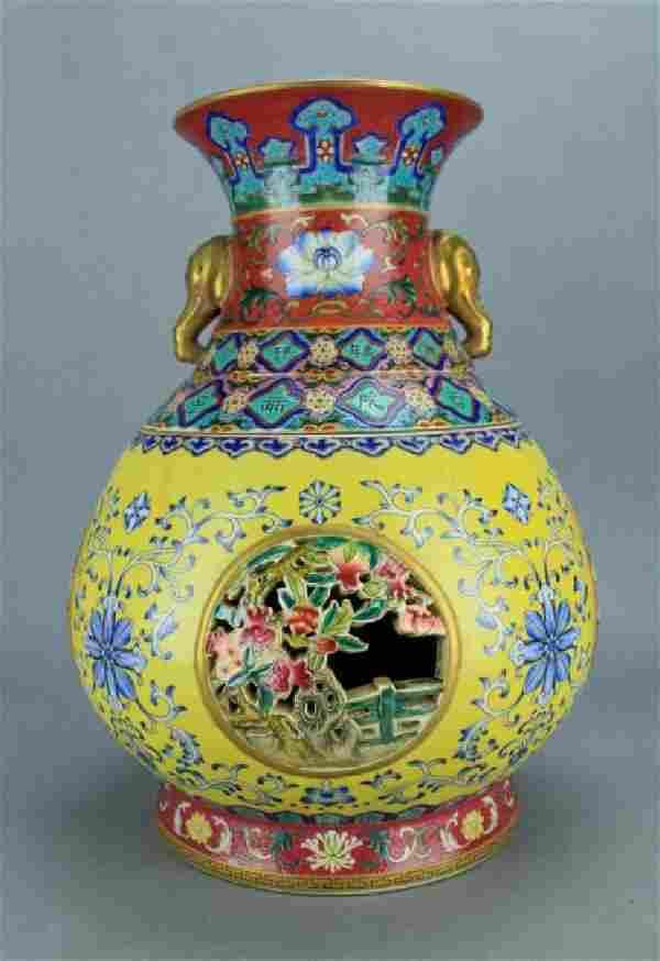 Qing Famille Rose Double Layer Vase QianLong Mark