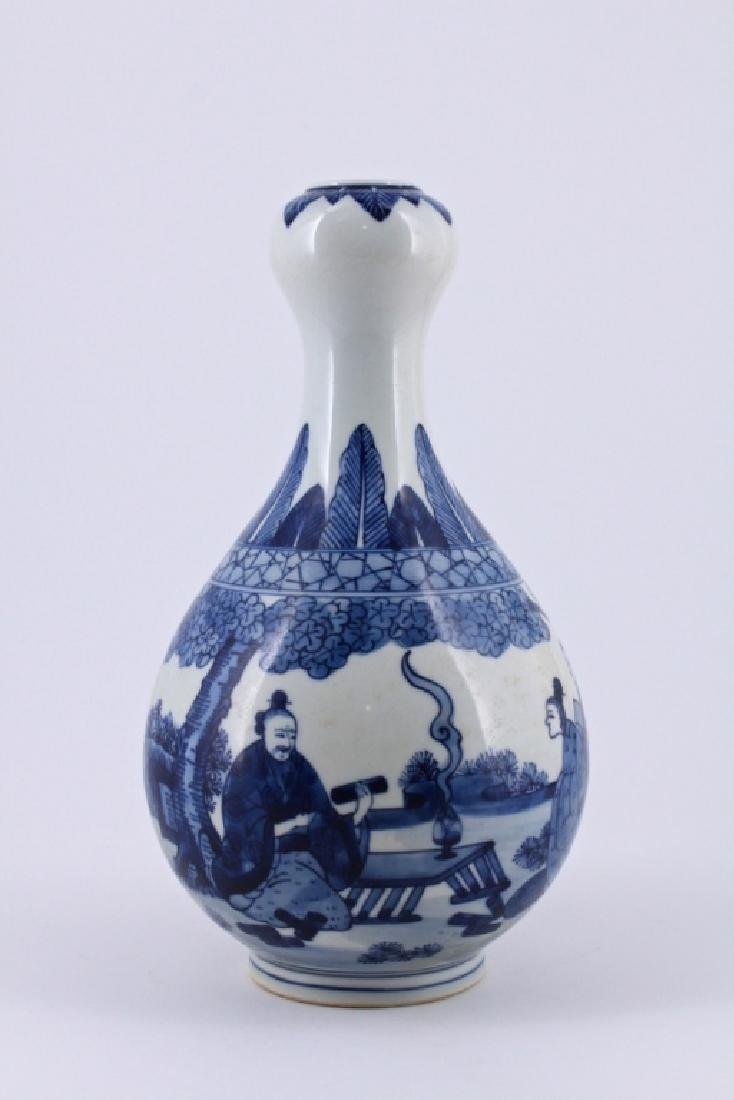 Qing Blue&White Character Porcelain Vase