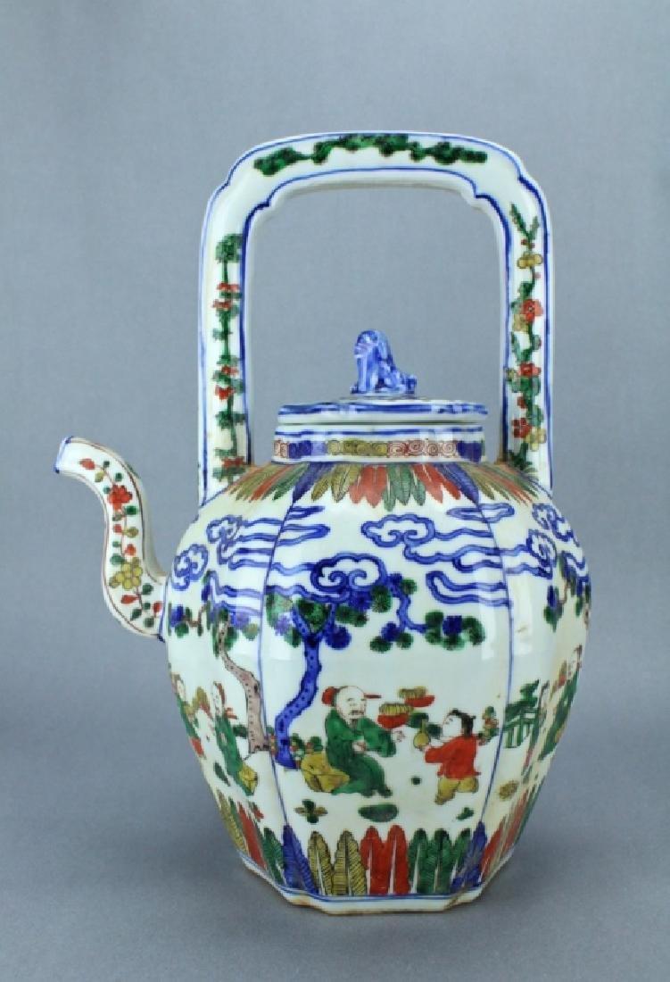 Ming DouCai Porcelain Teapot WanLi Mark and Period