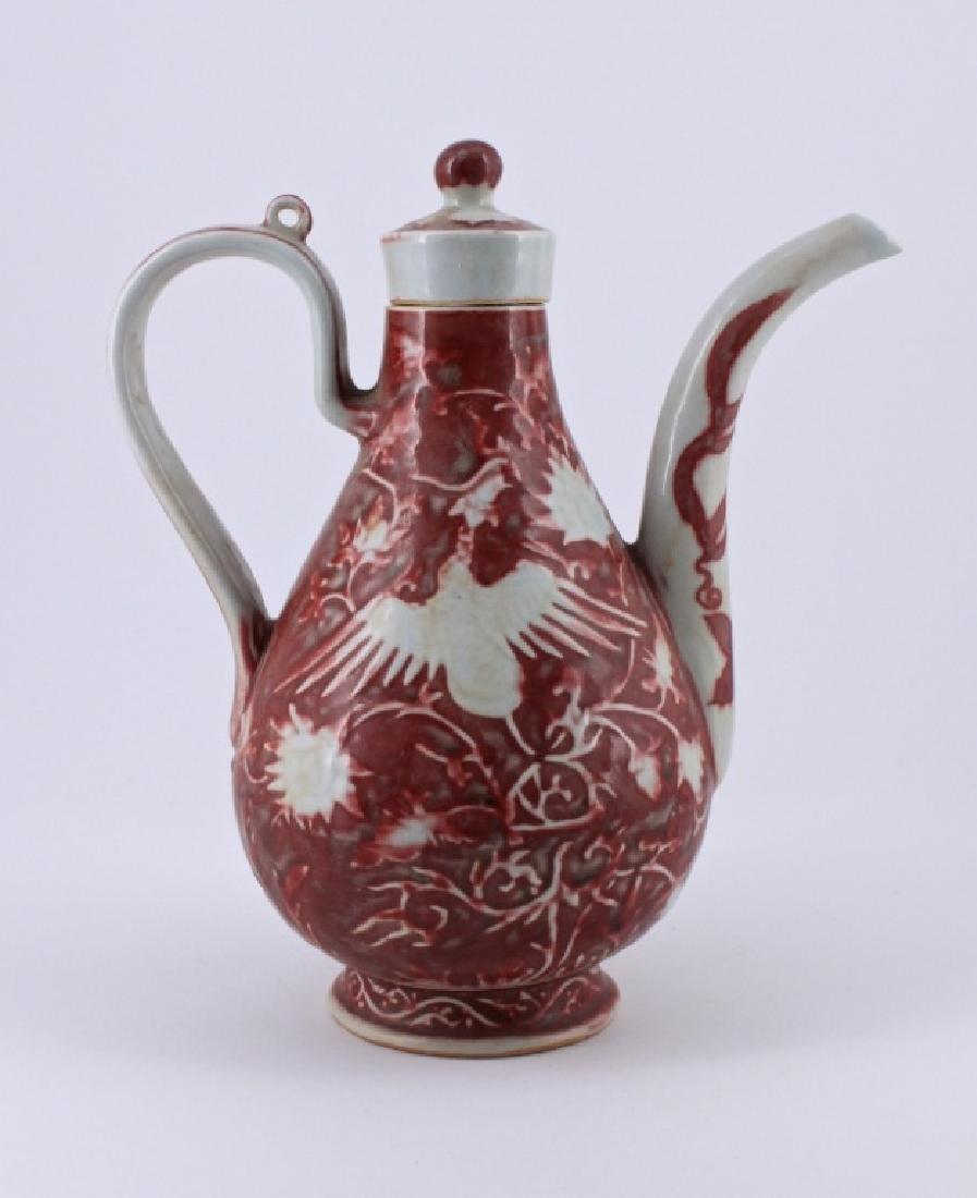 Ming Under Red Phoenix Porcelain Tea Pot