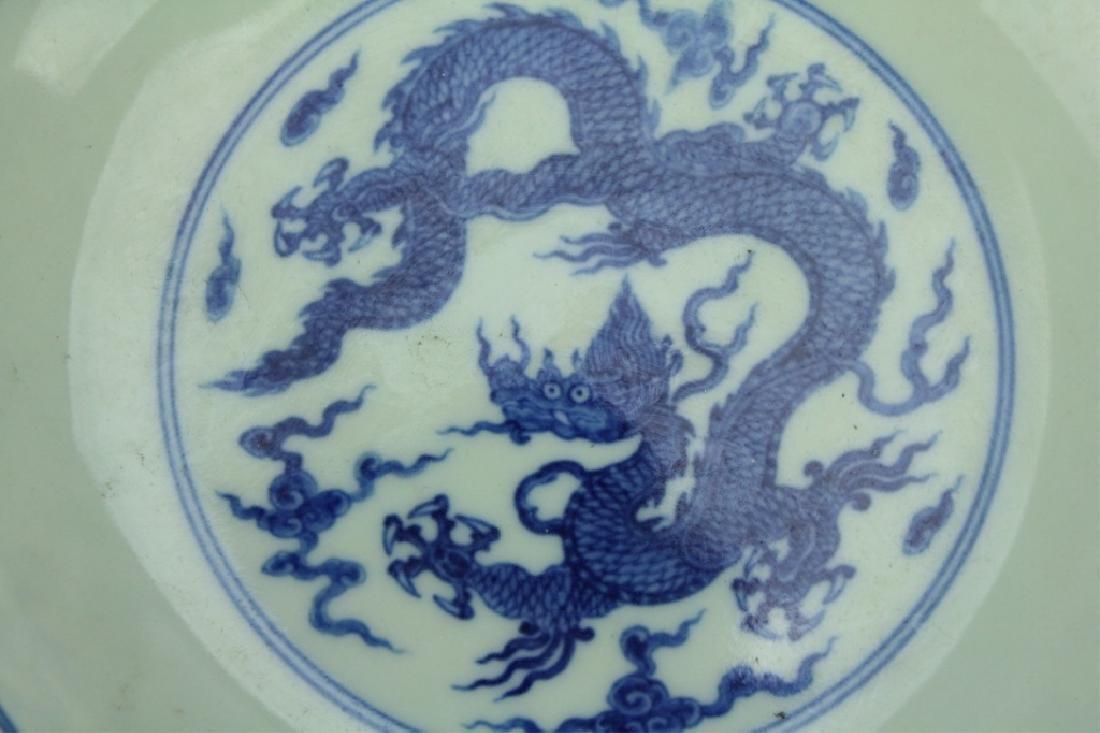 Ming Blue&White Dragon Plate ChengHua Mark Period - 2