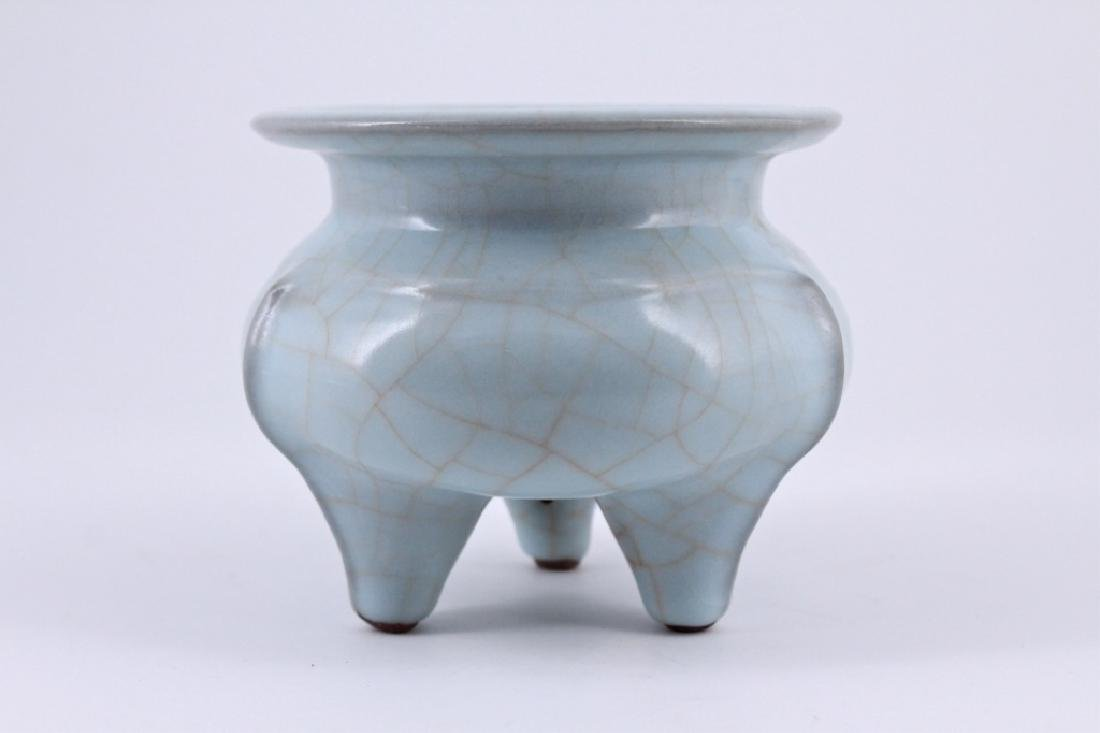 Song Ru Yao Porcelain Crackle Three-Foot Incense B