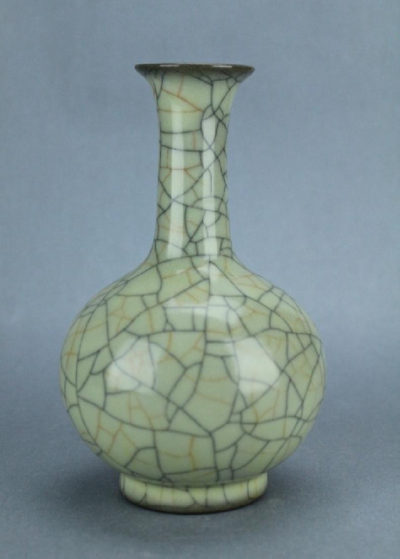 Song GuanYao Gold/Steel Line Crackle Porcelain Vas