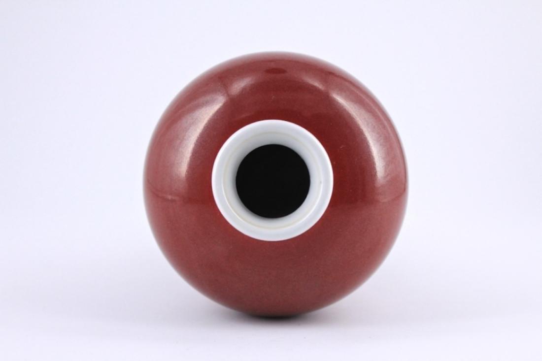 Qing Red Glaze Porcelain Vase - 2