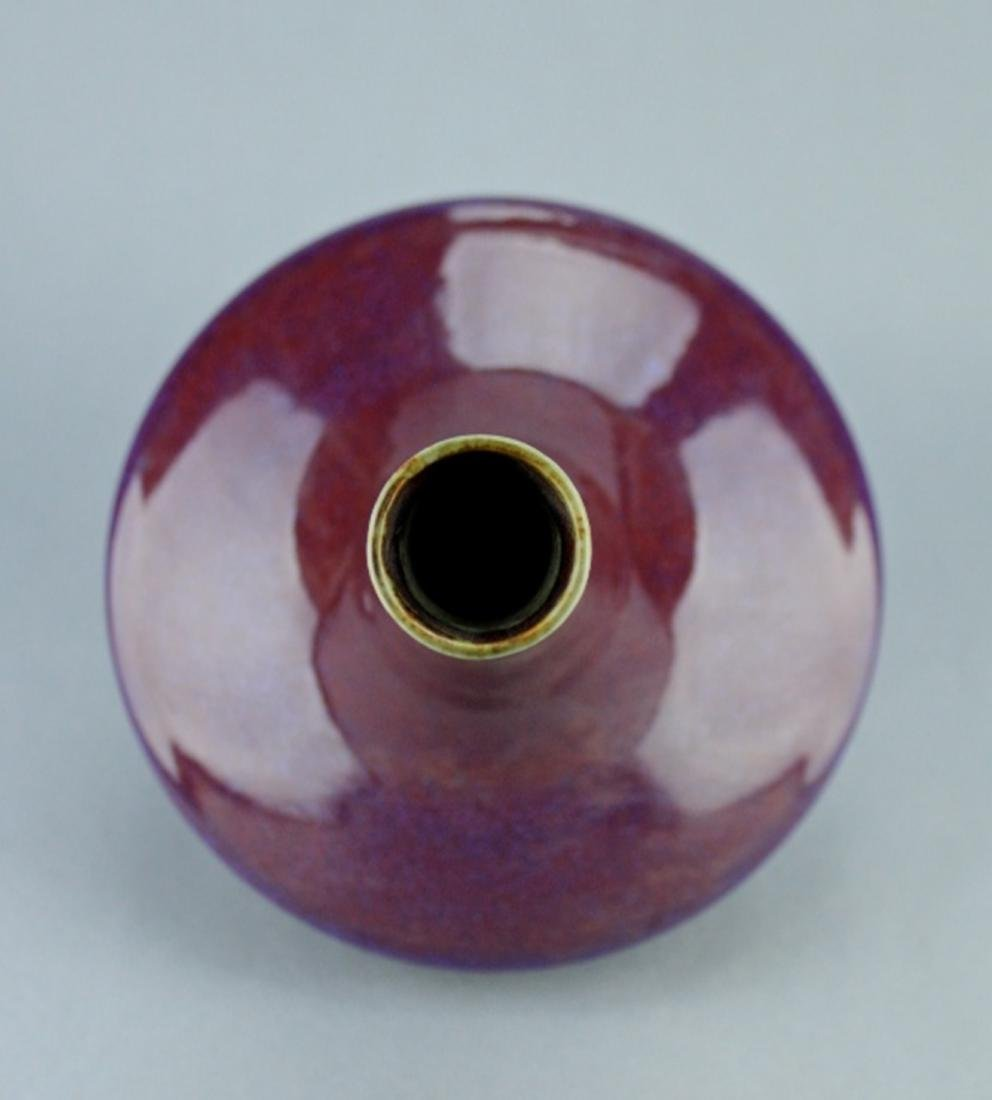 Qing Red Glaze Porcelain Vase QianLong Mark - 4